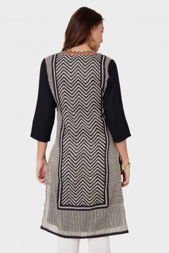 MAX Printed Embroidered Band Collar Kurta