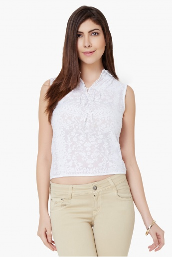 MAX Self Print Lacy Collar Top