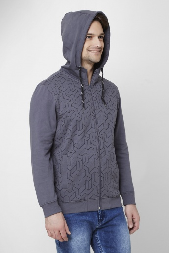 MAX Printed Front Zip Hooded Sweatshirt
