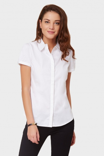 MAX Pinstriped Puffy Sleeves Shirt