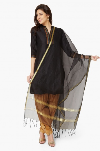 MAX Metallic Border Tasselled Dupatta