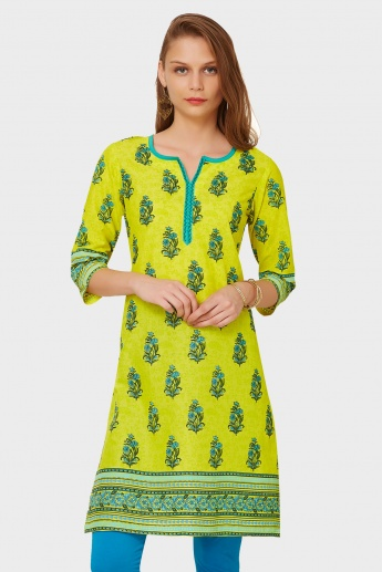 MAX Printed Notch Round Neck Kurti