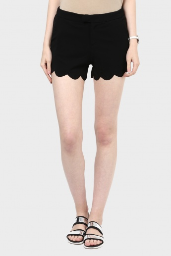 MAX Solid Scalloped Hem Shorts