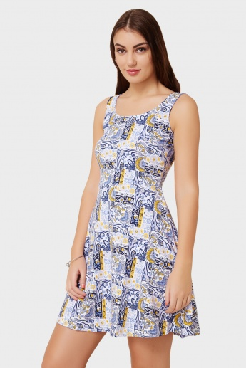 MAX Fit& Flare Frosty Tropical Printed Dress