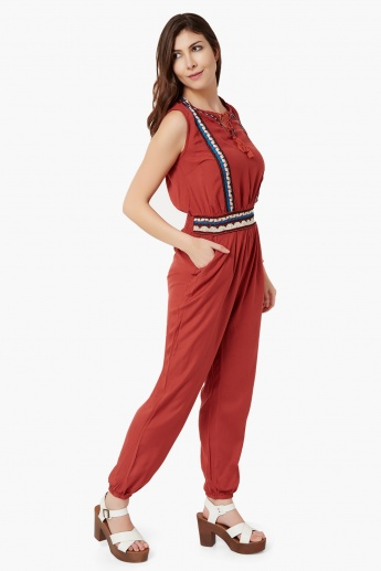 MAX Embroidered Sleeveless Jumpsuit