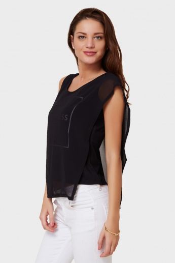 MAX Layered Chest Imprint Top