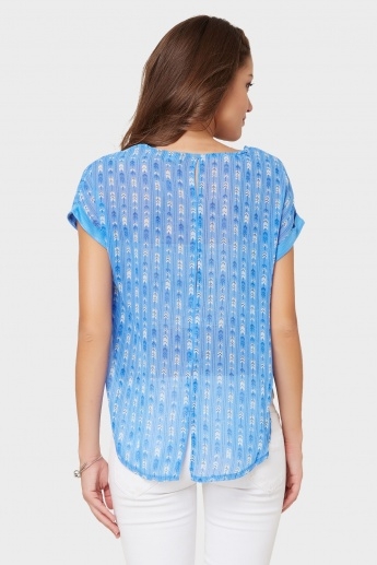 MAX Round Neck Printed Back Top
