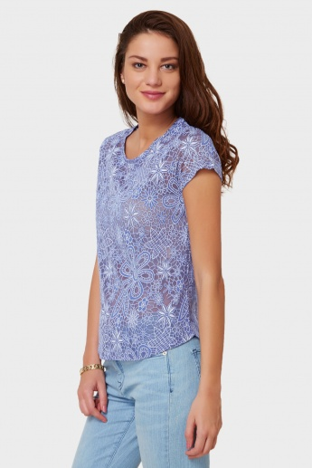 MAX Floral Burnout Round Neck Top