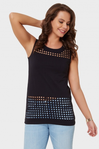 MAX Sleeveless Laser Cut Top