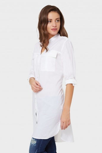 MAX Solid Button Up Tunic