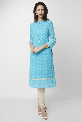 MAX Embroidered Band Collar Kurta