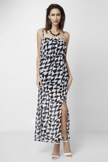 MAX Geometric Printed Side Slit Dress