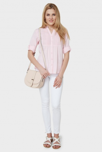 MAX Solid Roll-Up Sleeves Blouse