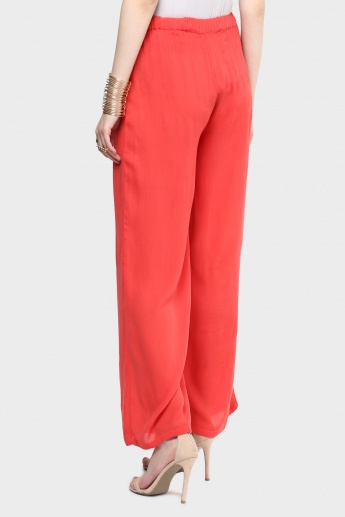 MAX Solid Waist Tie-Up Pants