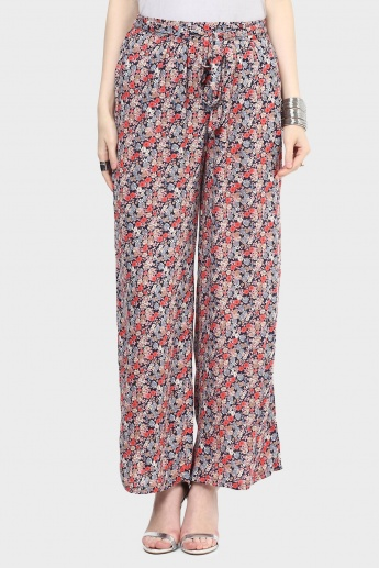 MAX Floral Print Waist Tie-Up Pants
