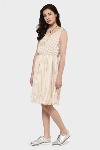 MAX Striped Cut-off Midi Dress