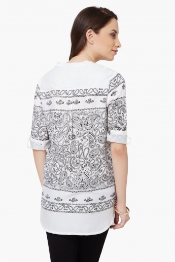 MAX Paisley Print Roll-Up Sleeves Tunic
