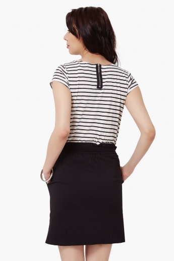 MAX Striped Bodice Pocketed Dress