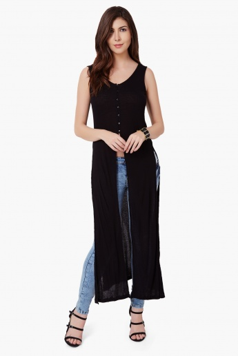MAX Ribbed Front Slit Maxi Top
