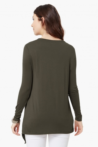 MAX Full Sleeves Asymmetric Hem Top